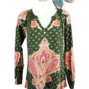 Lucky Brand Boho V-neck L/S Tunic Top
